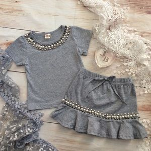 Other - Boutique Girls 2pc Embellished Kirt & Top
